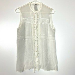 Chloe Sheer White Top Size 42 Button up Sheer